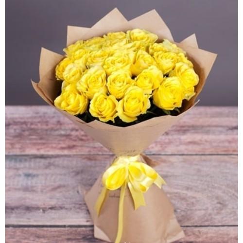 Купить на заказ Букет из желтых роз с доставкой в Аркалыке