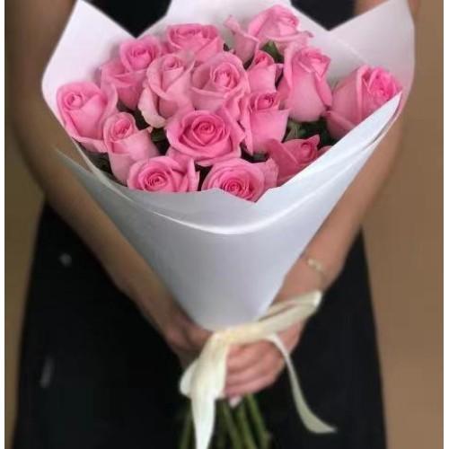 Купить на заказ Заказать 15 розовых роз с доставкой по Аркалыку с доставкой в Аркалыке